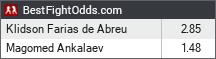 Klidson Farias De Abreu vs Magomed Ankalaev odds - BestFightOdds